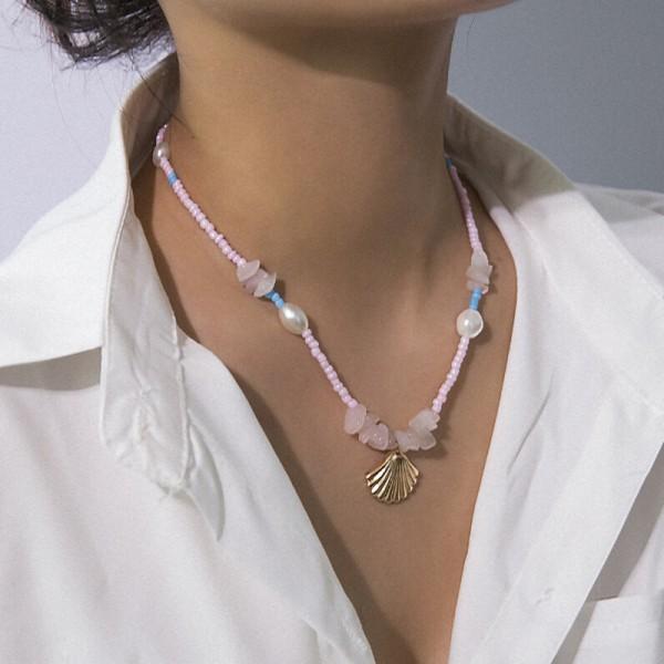 Boho Kvinnor Choker Pink Bead Pearl Shell Pendant Necklace Chain