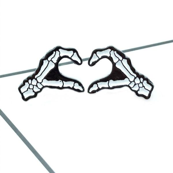 Cartoon Badges Skull Hand Heart Brooch Pins Emalj Women Backpa