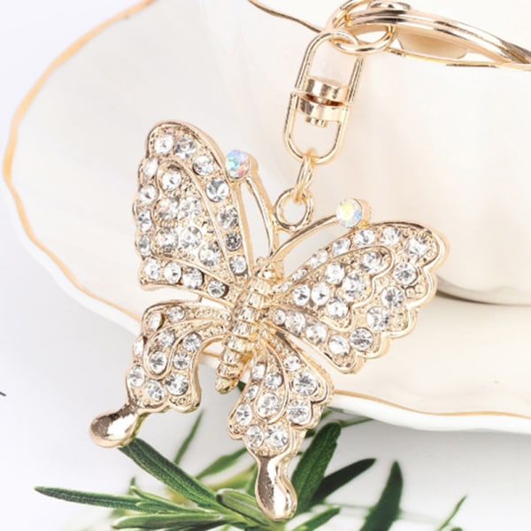 Crystal Butterfly Jewelry Keychain Women Key Holder Chain Ring