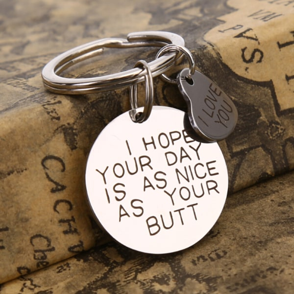 Engraved Pendants I Love You Key Chain Key Ring Jewelry Valenti Silver