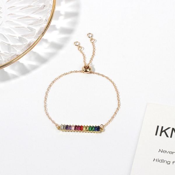 Mode Guld Rainbow Crystal Zirkon Geometriskt Armband Kvinnor Ne