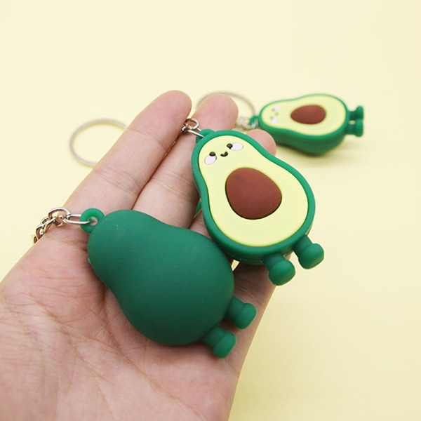 Fashion Simulation Fruit Avocado Smile Keychain 3D Resin Key Ch Green