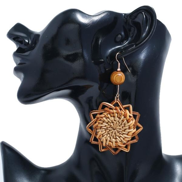 Handgjorda träbambu rotting geometriska hänge örhängen örhängen