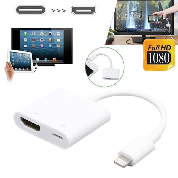 HD 1080P TV Cable Adapter Converter Mirror Display Data Cable IP White