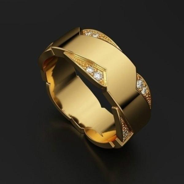 Smycken Herr diamantring Förlovningsbröllop Gåva Födelsedag