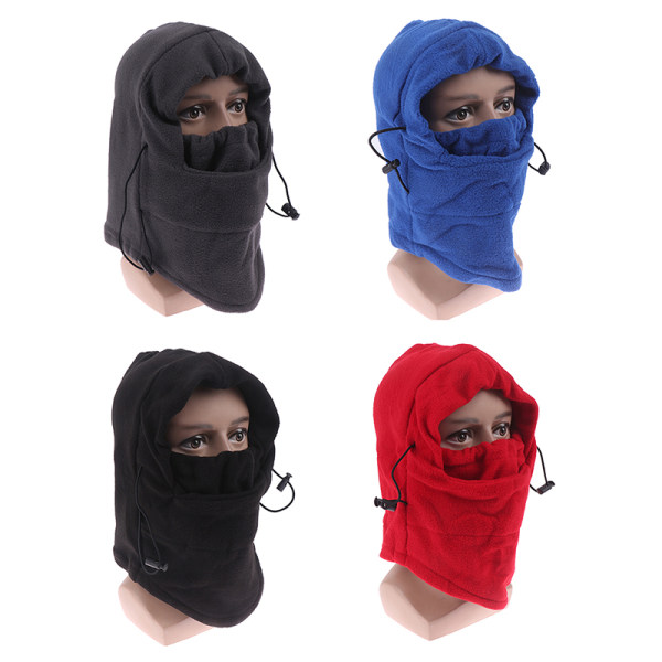 Mens Winter Warm Fleece Thermal Motorcycle Ski Hat Full Neck Fa Black