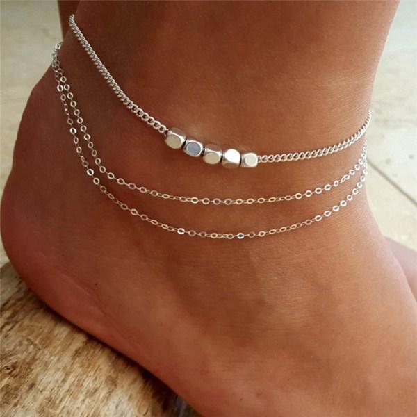 Flerskikts Boho Barfota Sandal Beach Anklet Foot Chain Smycken