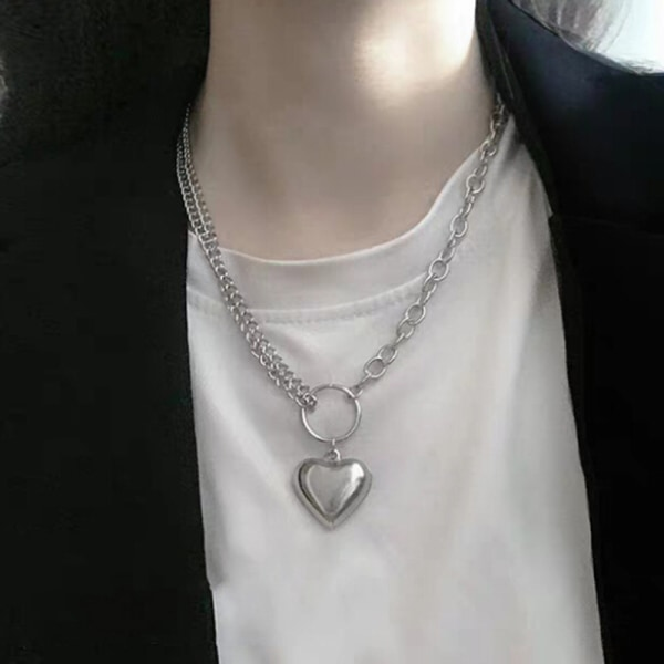 Punk Women Men Heart Chain Necklace Heart Necklace Hip Hop Jewe