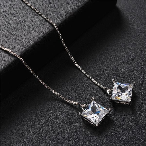 Silver Crystal Dangle Drop Örhängen Bröllop Långa örhängen Brida