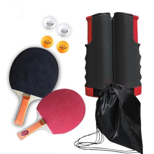 Bordtennis Kit Ping Pong Set Portable Retractable Net 2 Bats