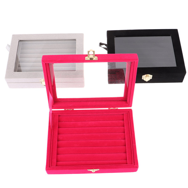 Velvet Glass Jewelry Ring Earring Display Organizer Box Tray Hol Black