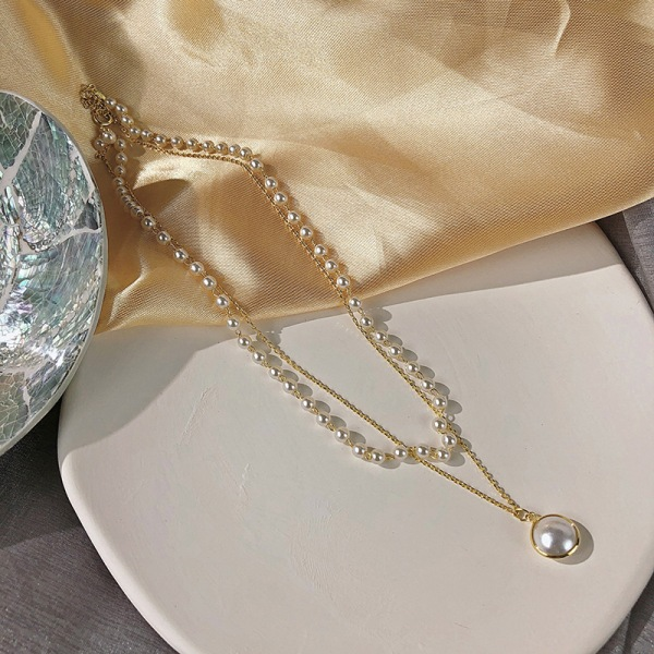 Kvinnor dubbla lager kedja guld Choker söt pärla hänge halsband
