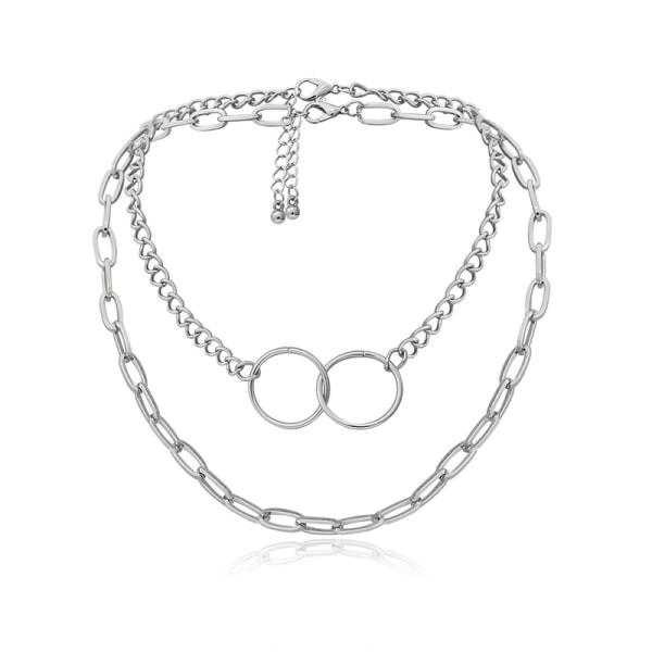 Kvinnors dubbla lager Choker Circle hänge silver halsband Clavic