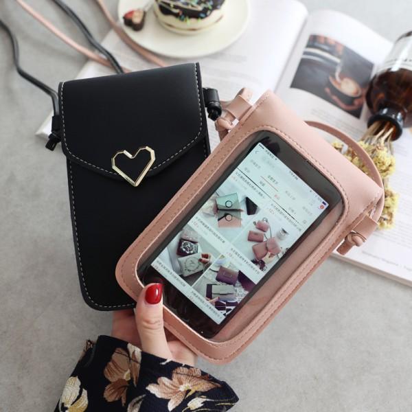 Kvinnor utomhus hjärtformade dekorativa Crossbody väska mobil Phon