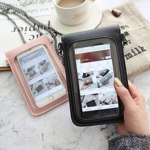 Women Simple Chain PU Transparent Touch-Screen Crossbody Mobile Black
