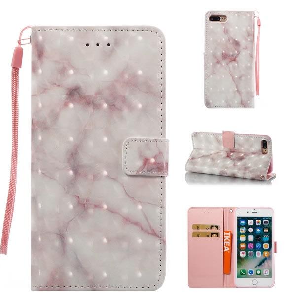 iPhone 7/8 - Plånboksfodral - Marmor mönster vit/grå