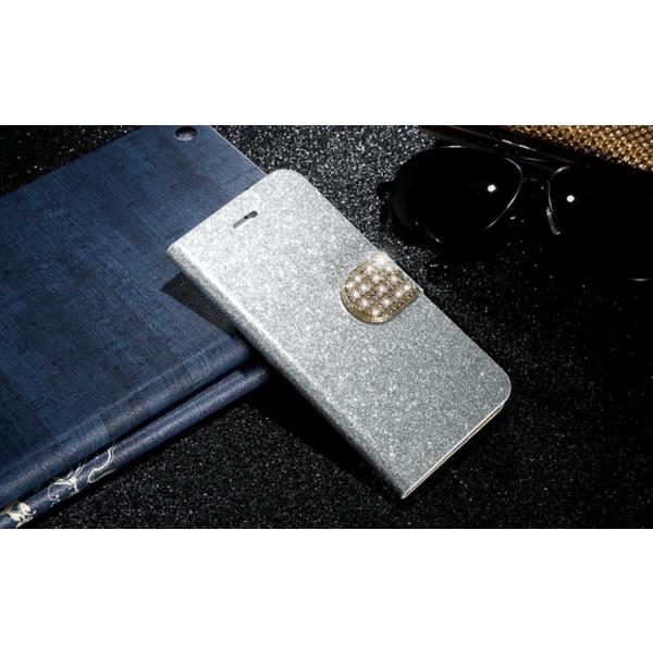 Glittrigt plånboksfodral till iPhone 8 Silver