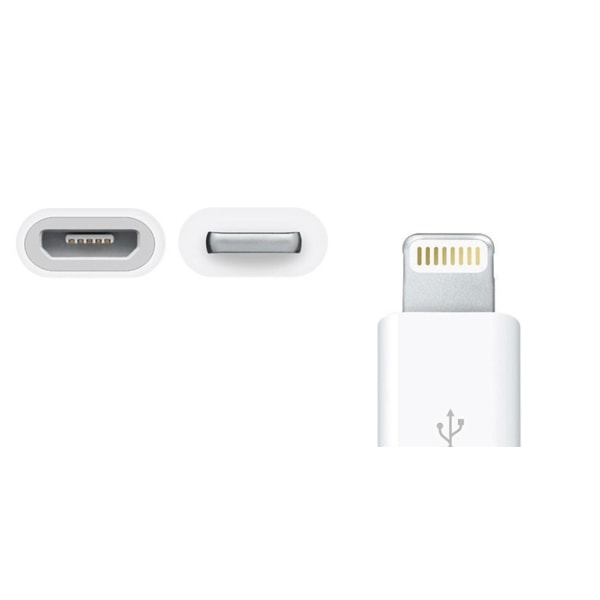 MicroUSB adapter,  ladda iPhone med universal-laddare! Vit