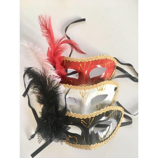 Halloween mask spets / fjädrar. Vietnamesisk Röd