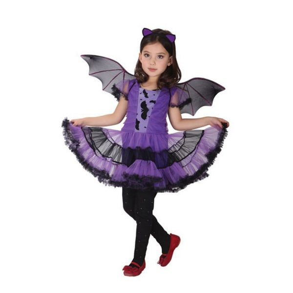 Halloweendräkt Batgirl / klänning /  vingar  Purple 116
