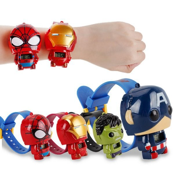 Super hero Klocka - som utvecklar sig. Hulk, Spiderman m fl Spindelmannen