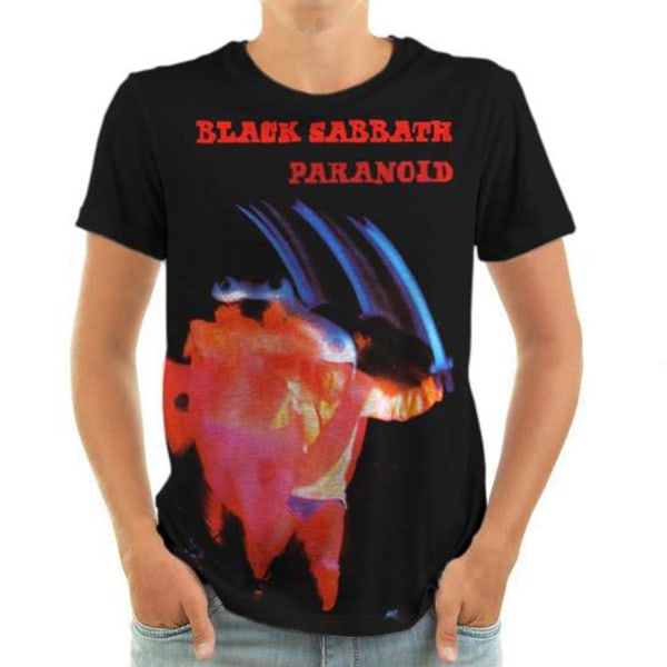 Born2Rock - PARANOID Black Sabbath - Mens T-Shirt 5XL / Black