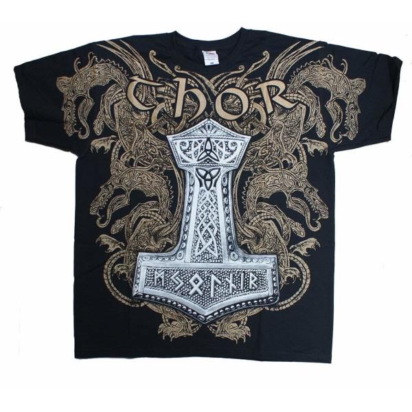 VIKING THOR'S HAMMER  T-Shirt Wrap - Black Medium