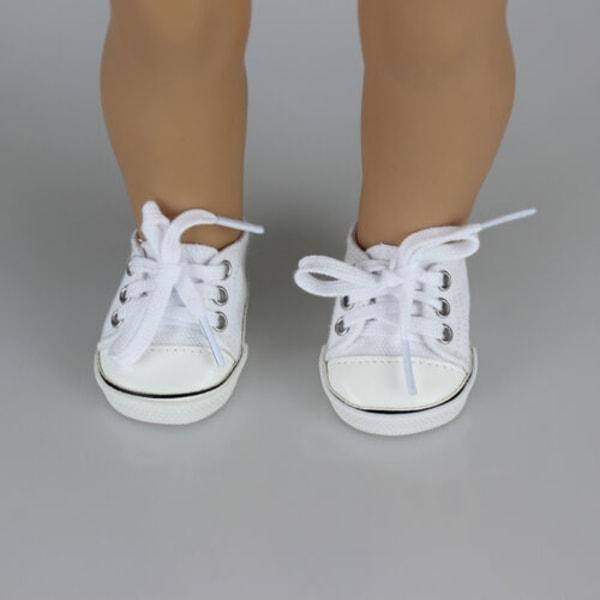 Handgjorda canvas vita skor för 18-tums flickadocka söta babybarn