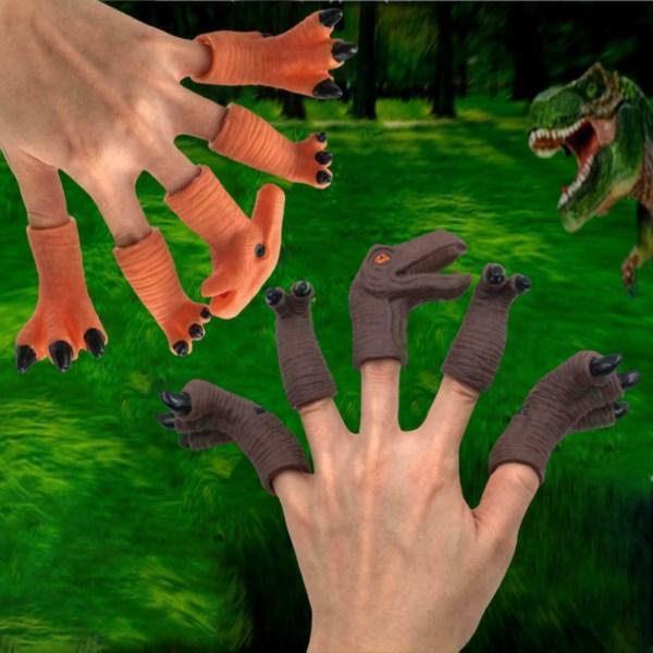Gummidinosaurier Huvudfingrar Dockleksaker Set Låtsas leksak