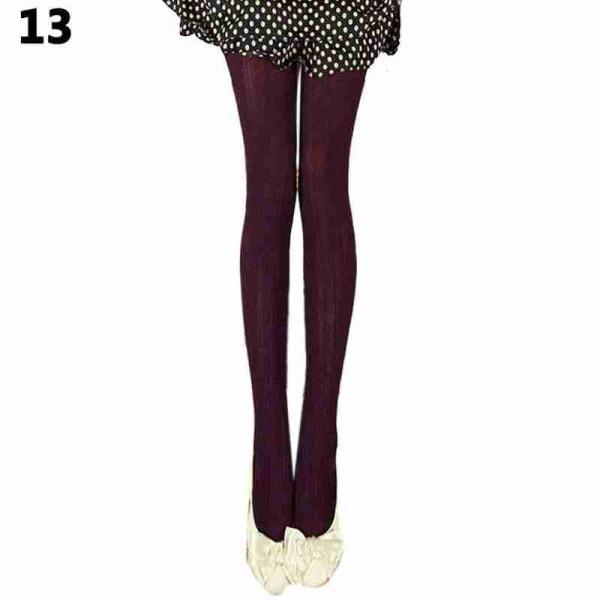 Kvinnors vinterstickade varma skinny leggings ull stretchbar byxa