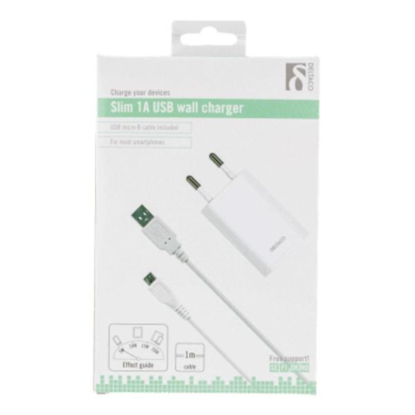 DELTACO Väggladdare 230V till 5V USB, USB Type Micro B-kabel, 1M
