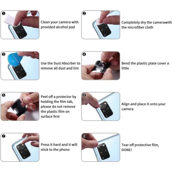 3-Pack Samsung Galaxy S20 Bak kamera Skärmskydd  Transparent