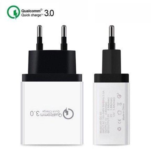 4.8A Väggladdare Kontakt 24W - 3 Port Vit