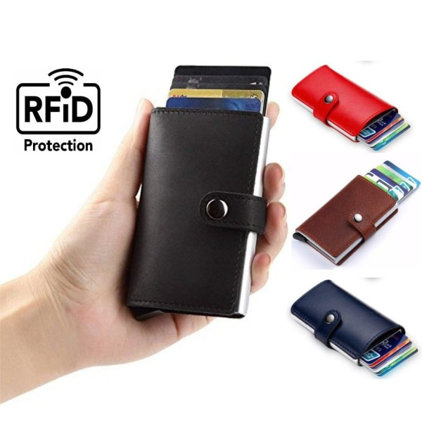 Pop Up Korthållare Aluminium Läder RFID & NFC skydd Sedelfack  Mörkbrun