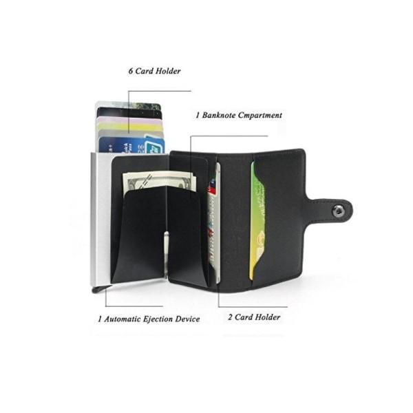 Pop Up Korthållare Aluminium Läder RFID & NFC skydd Sedelfack  Svart