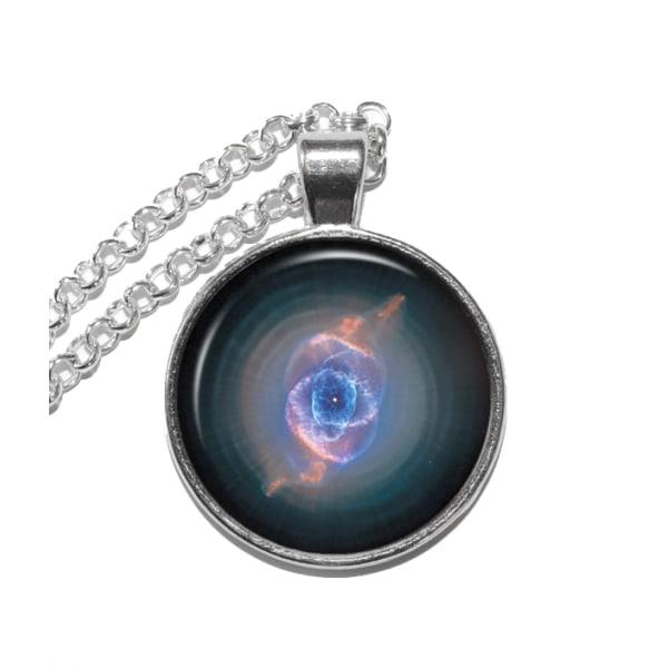 Halsband Brons Silver Cat's Eye Nebulosa Ljusår Rymden Universum Silver