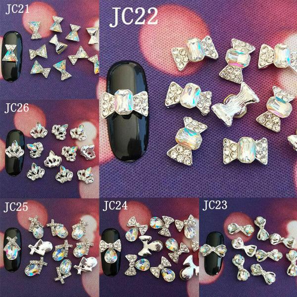 10 förpackningar Crystal Strass Nail Art Stones 3D Decor Charms Rhinest