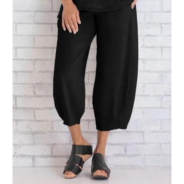 Dam sommar elastisk midja och fotled byxor lösa casual byxor Kaki 3xl