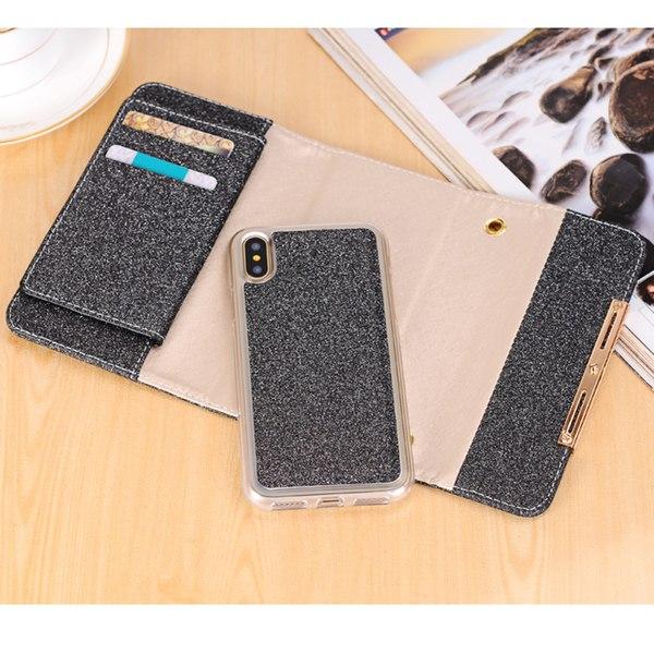Glittrigt plånboksfodral för iPhone X/XS - Med axelkedja Svart
