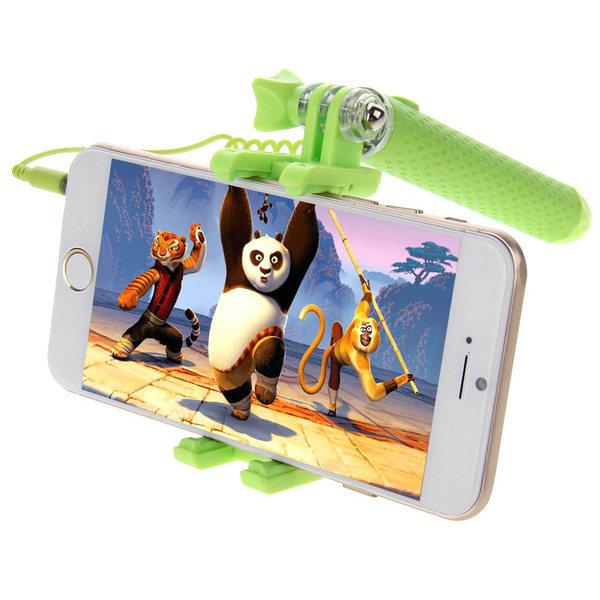 HAWEEL selfiepinne med inbyggd kameraavtryckare (grön)