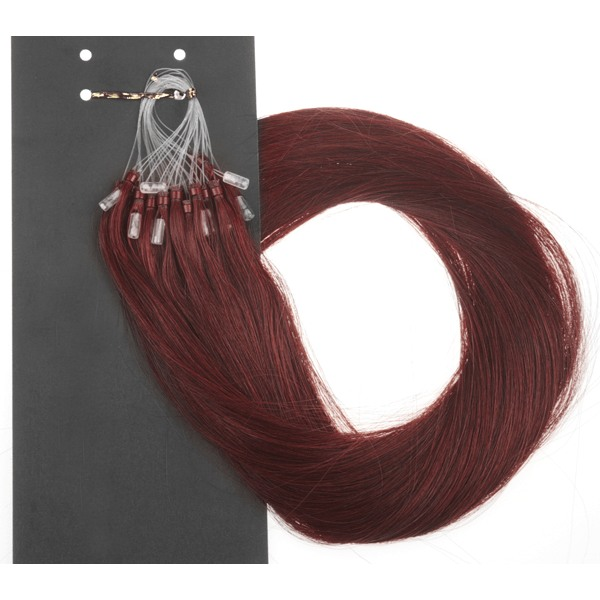 Mizzy Premium Single Drawn äkta hår microringar #99J 60cm