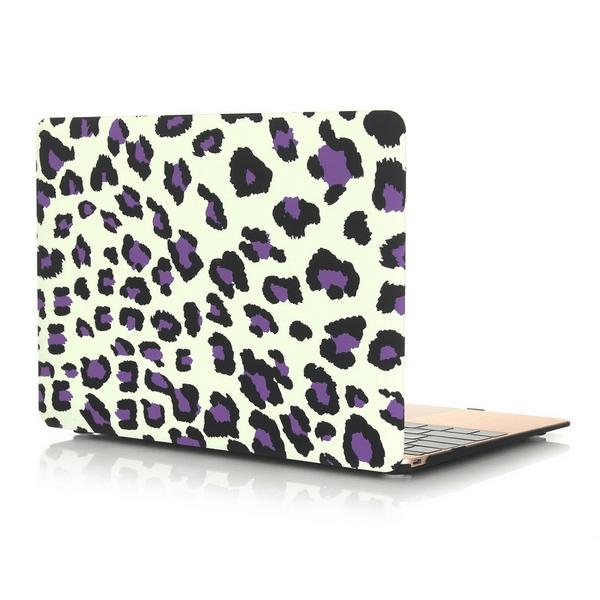 Skal Macbook 12-tum - Leopardmönster vit & lila
