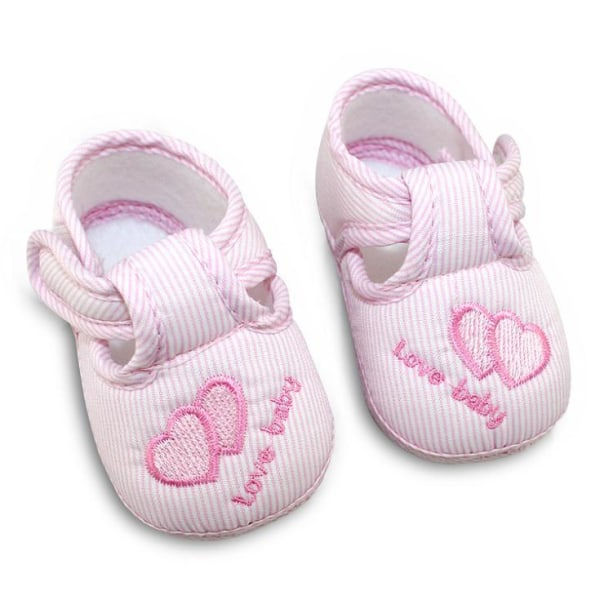 3 Colors Newborn Cotton Hasp Soft Shoes sole Skidproof 0-18M Pink 0-6Months