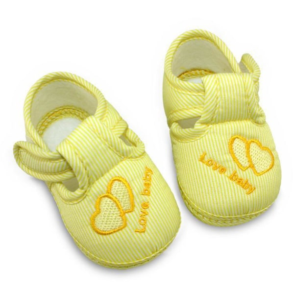 3 Colors Newborn Cotton Hasp Soft Shoes sole Skidproof 0-18M Yellow 0-6Months