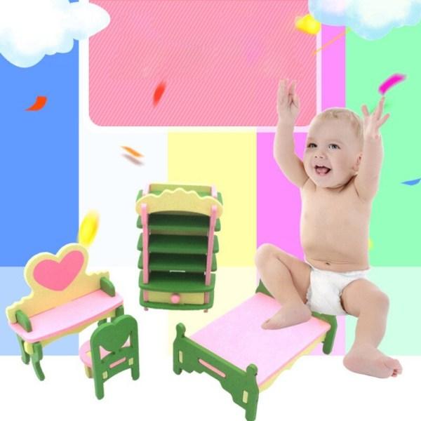 3D Dollhouse Giftfritt Miniature House Barnmöbler Leksaker