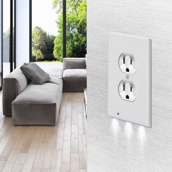 5 Pcs Durable Convenient Outlet Cover With Led Night Lights white Round hole