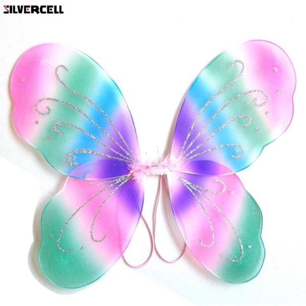 Angel Fairy Butterfly Wings Barnflickor klär festkläder