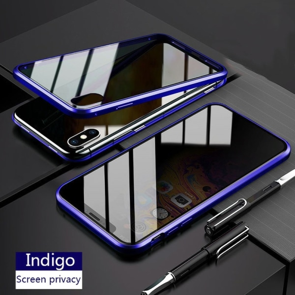 Anti-peep Magnetic double-sided glass phone case for iphone XR Blue iphone XR