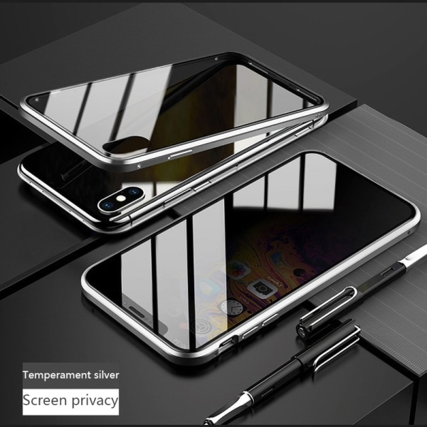 Anti-peep Magnetic double-sided glass phone case for iphone XR Silver iphone XR