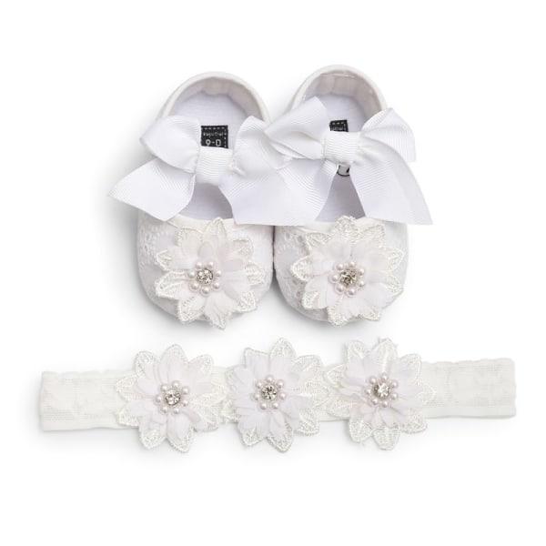 Bab Bowknot Lace Floral Shoes +Headband 2PCS W 12-18Months